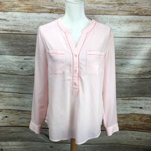Talbots  Popover Blouse Blush Pink Double Pockets